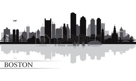 Stock Vector Skyline Silhouette City Skyline Silhouette Boston Skyline Painting