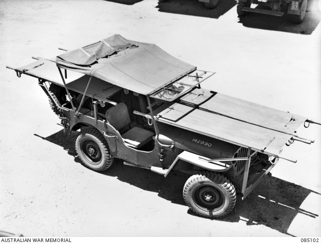 Ravenshoe Qld 1944 12 28 A Jeep Stretcher Carrying Attachment Designed By Sergeant A K Sweetman Attached Corps Of Australian Jeep Willys Jeep Jeep Models