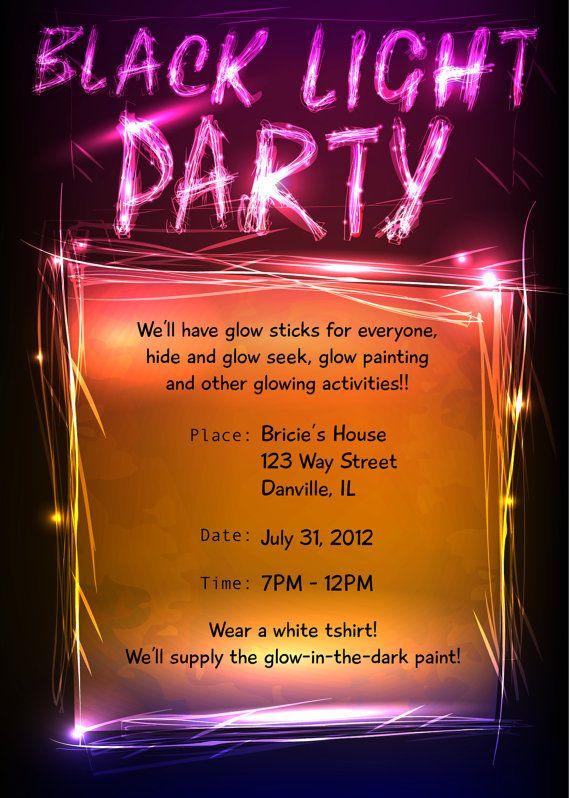 Black Light Party Invitation By Bricietrogliadesign On Etsy 15 00