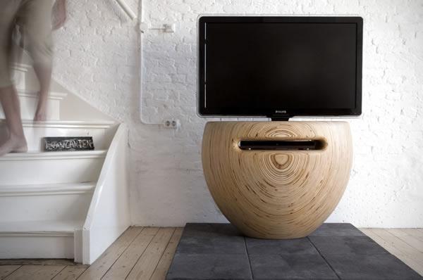Unique vase-shaped TV stand.