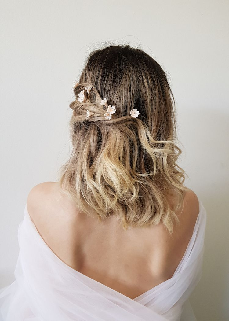 WHISPER Blush floral hair pins in Bridal Beauty