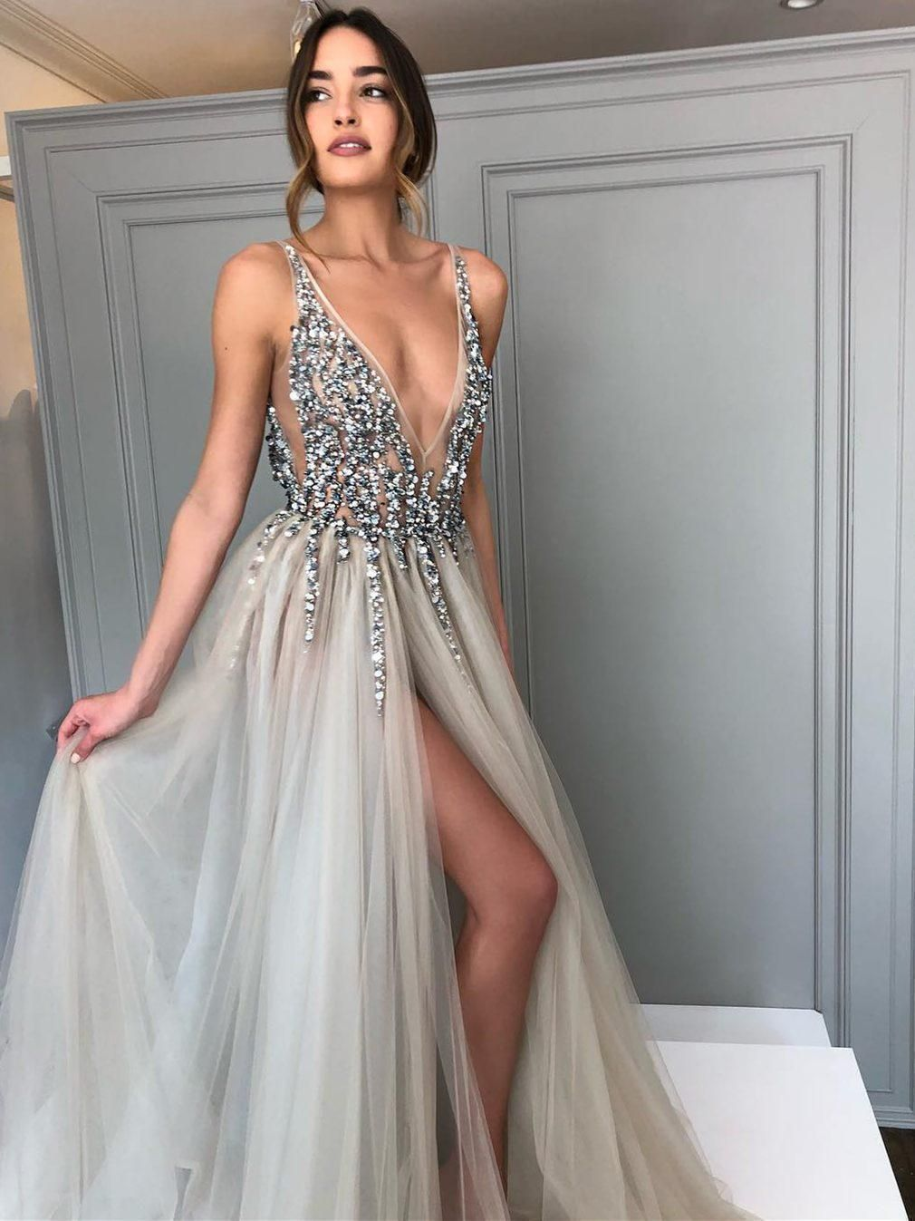 Long Backless Grey Sexy Prom Dresses with Slit Rhinestone See Through Evening Gowns, QB0286