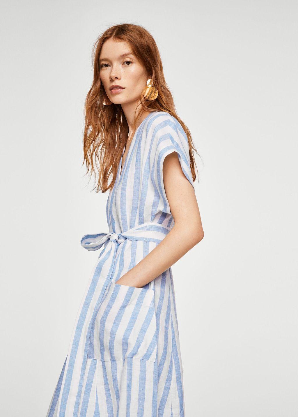 Super Gestreepte linnen jurk - Dames | My Style - Gestreept linnen OO-92