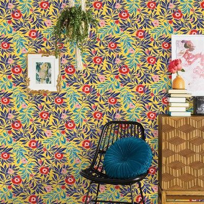 Marker Floral Peel Stick Wallpaper Yellow Opalhouse In 2020 Peel And Stick Wallpaper Wallpaper Wallpaper Accent Wall
