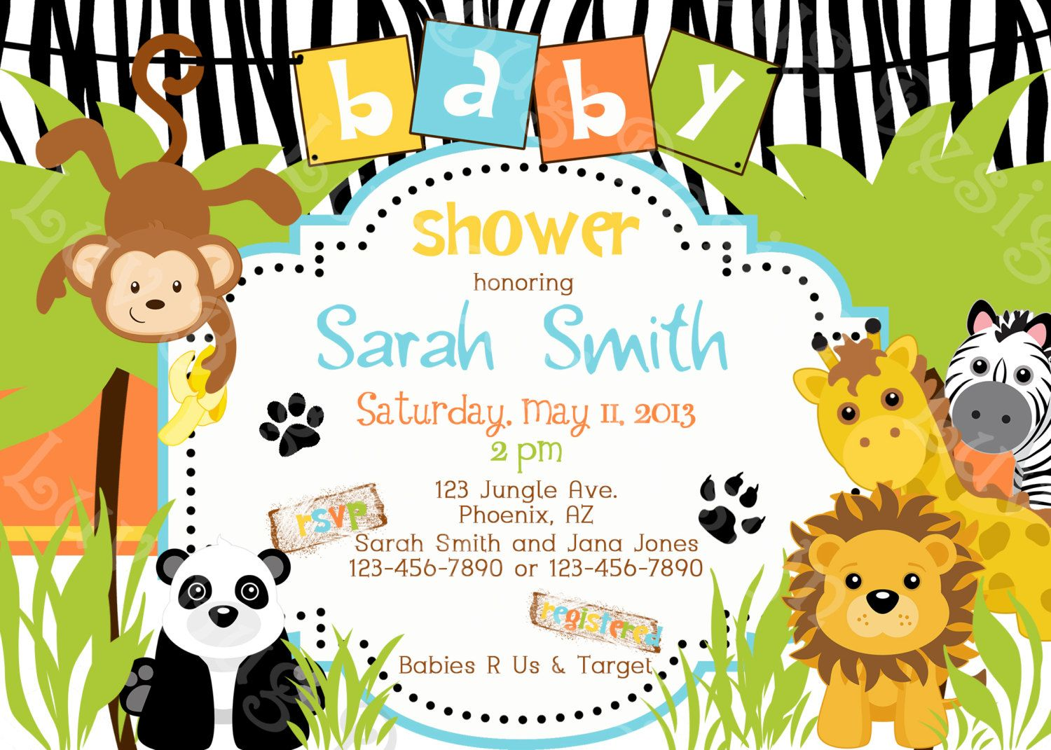 Jungle Baby Shower Invitation Printable Party Invites By Luv Bug Design