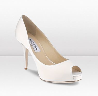 Gentil Atom By Jimmy Choo, Classic Delicate Ivory Sation Peep Toe Shoes