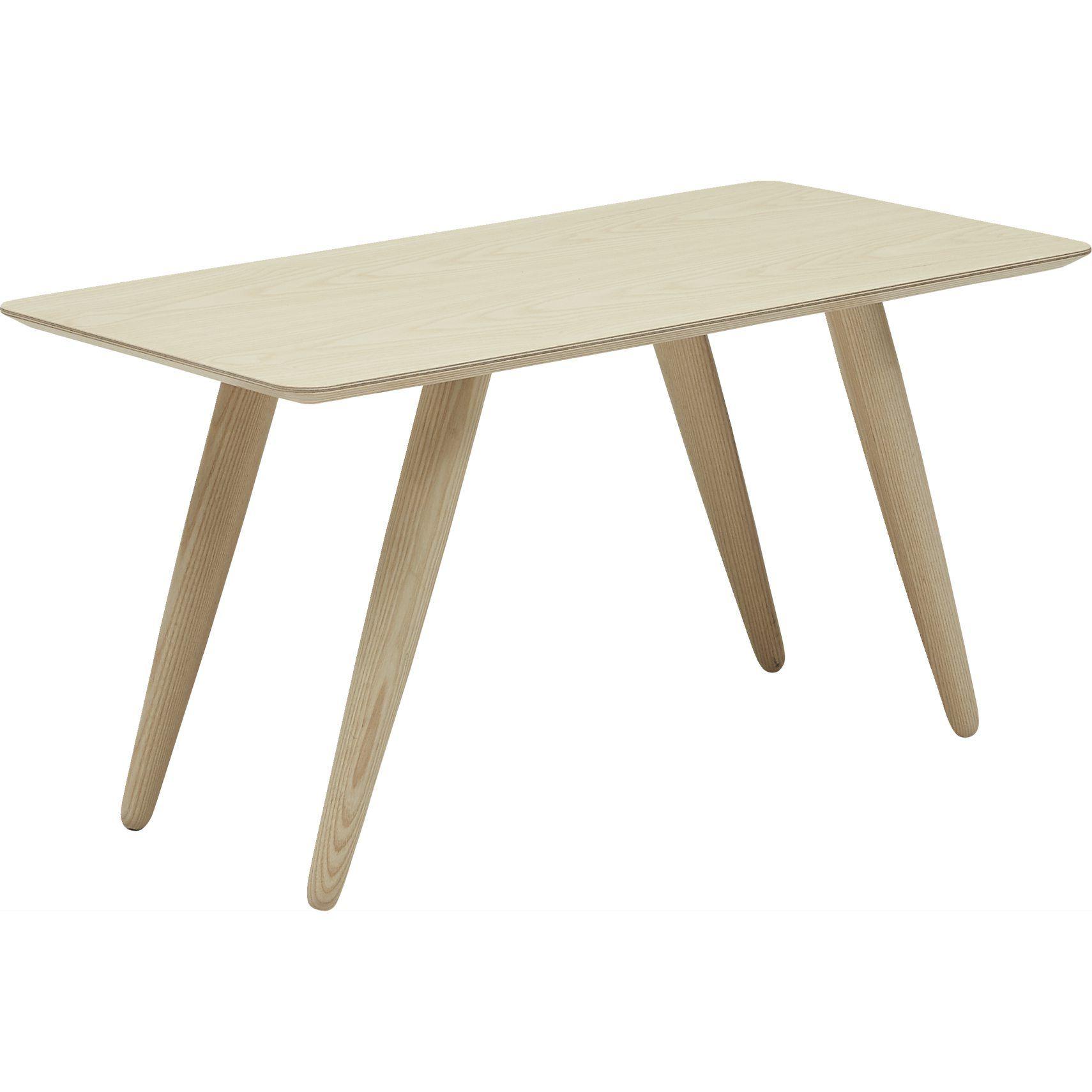 Sofabord med fineret bordplade i lakeret ask, samt ben i massiv lakeret asketræ.