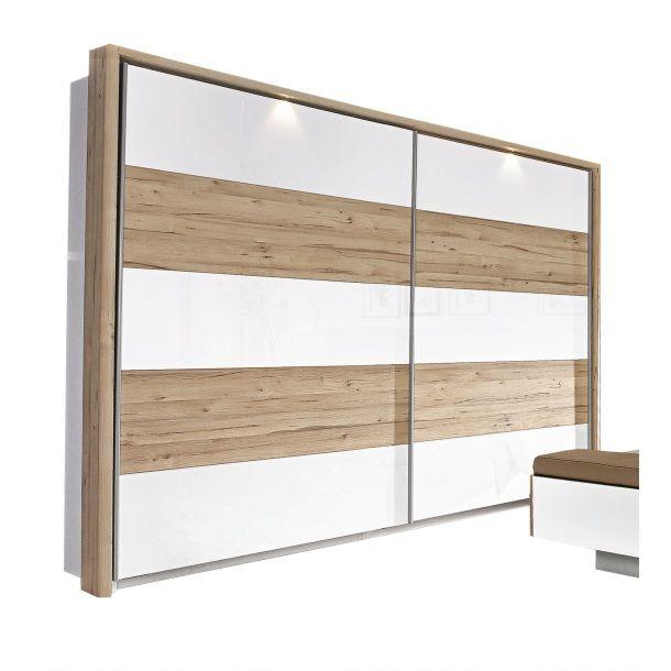vito Schwebetürenschrank Weiß/ Planked Optik #Schlafzimmer - schlafzimmer ideen weis modern