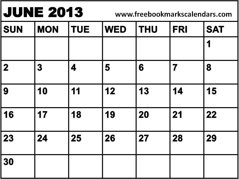 Planner 2013 June Blank Calendar 2013 June Calendar Printables