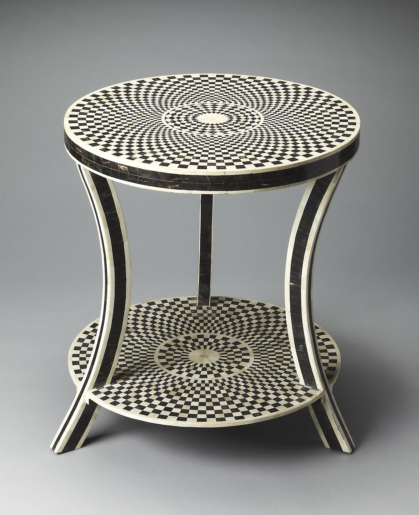 Bone Inlay End Table Round accent table, Accent table