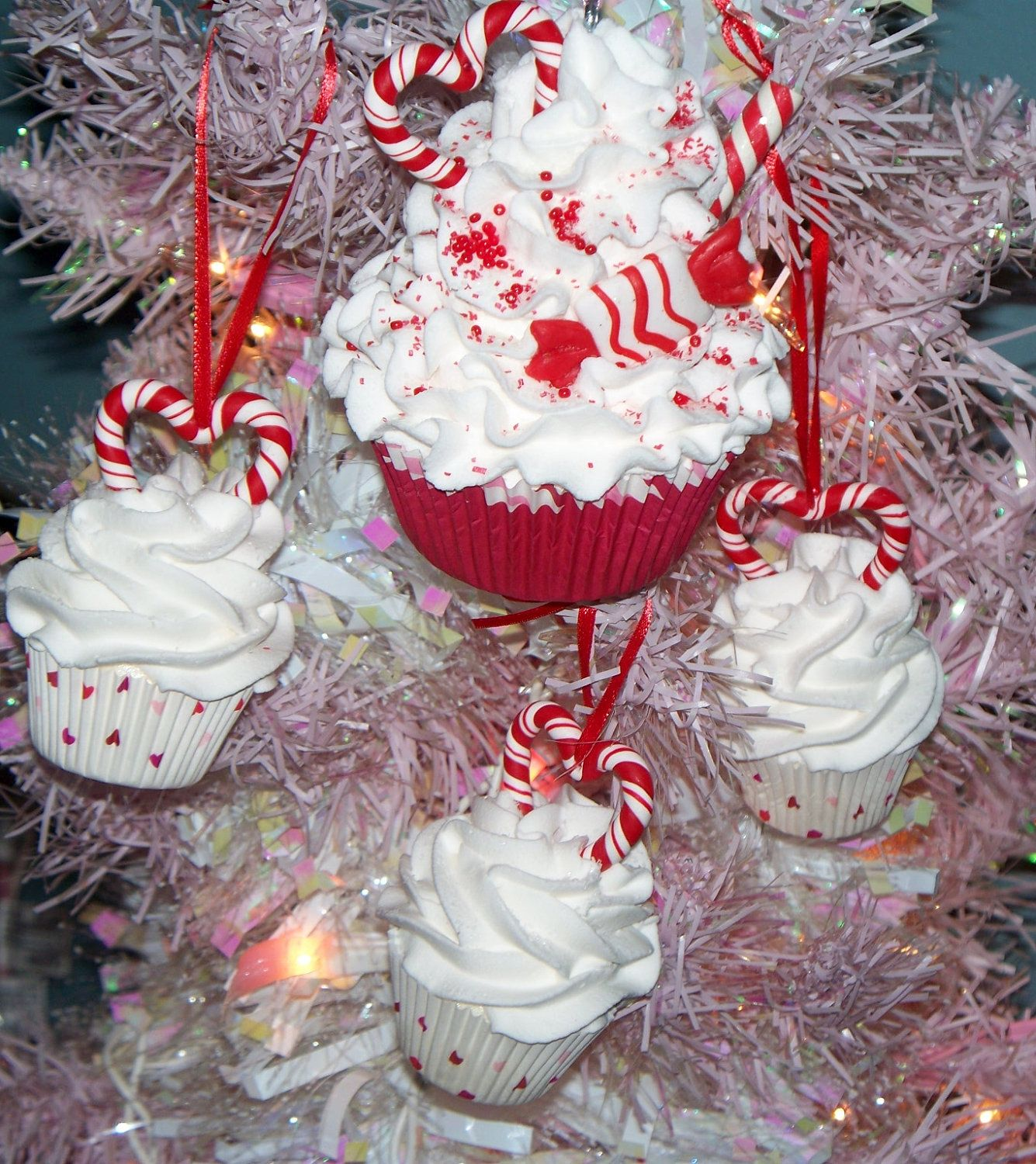 Candy Cane Hearts Set Fake Cupcake Christmas Ornaments For Holiday