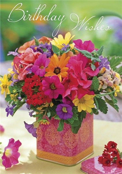 Happy Birthday Wishes Wildflowers In A Tea Tin Pink