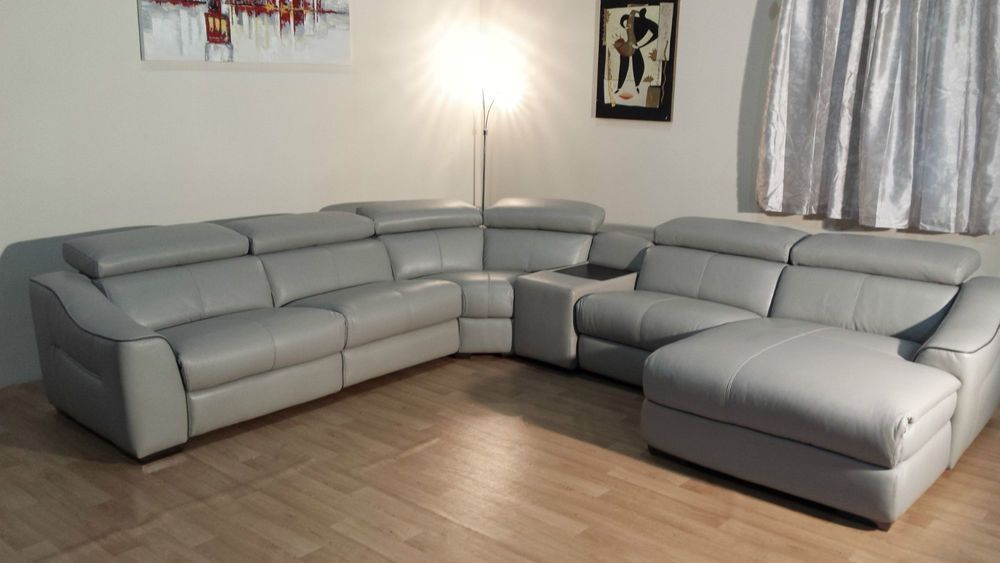 New Elixir Grey Leather Electric Recliner Corner Sofa With Table Unit Best Leather Sofa Recliner Corner Sofa Sofa Deals