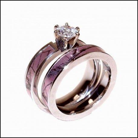 Pink Camo Diamond Wedding Rings for Her | Wedding Ideas | Pinterest ...