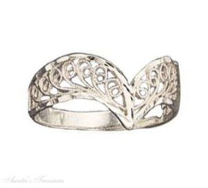 Sterling Silver Filigree Chevron Ring Auntie's Treasures. $35.16