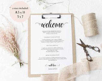 Wedding Itinerary Template Wedding Welcome Note Welcome Bag