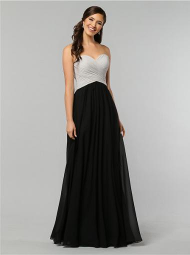 Sweetheart Black White Chiffon Floor Length A Line Zipper Ruched Sleeveless Bridesmaid Wedding Party Dresses AustraliaBridesmaid