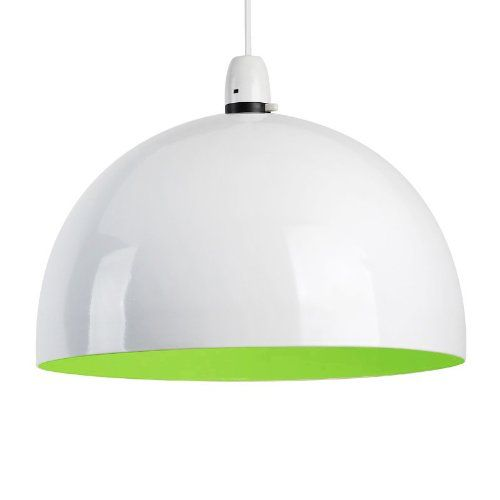 Modern Gloss White & Green Metal Dome Ceiling Pendant