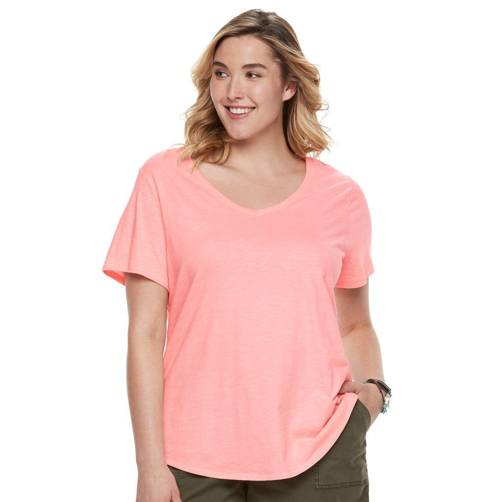 Plus Size SONOMA Goods for Life™ Essential V-Neck Tee, Women's, Size: 3XL, Light Pink