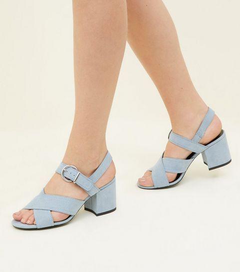 3c90eb7d87a5 Girls Black Suedette Block Heel Sandals
