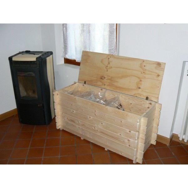 Baule cassapanca in abete nordico x cuscini giochi for Mobile terrazzo legno