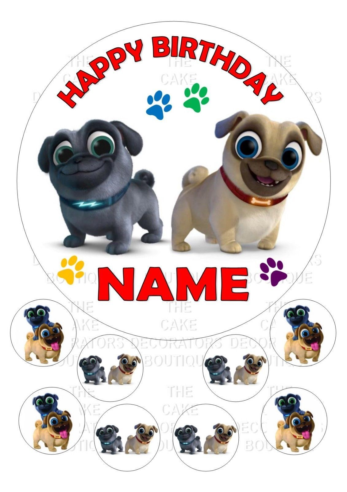 Puppy Dog Pals Round Iced Icing Personalised Cake Topper 7 5 8 Cupcake Tops Ebay Home Garden Puppy Birthday Dog Party Dogs And Puppies