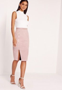 Faux Suede Double Zip Through Midi Skirt Lilac