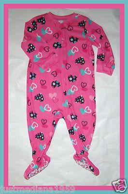 794a07717 NWT Baby Girls Knit Zip Up Sleeper Pajama - Dark Pink w Colorful ...