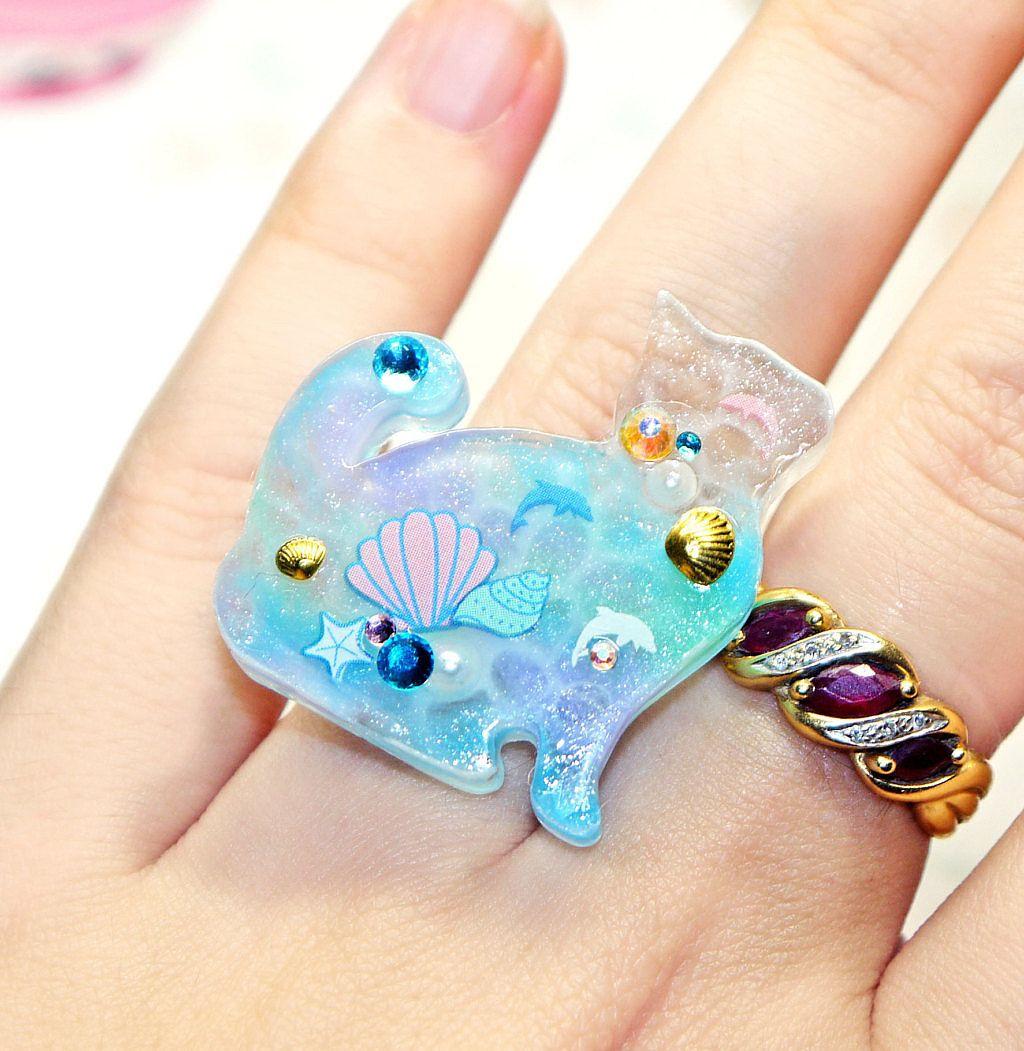 Gorgeous handmade resin Cat Rings
