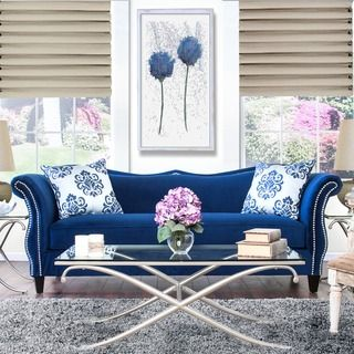 furniture of america othello 2 piece sofa set overstock shopping big discounts on - Blue Living Room Set