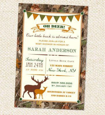 Deer Hunting Baby Shower Invitation DIY by LollipopPrints on Etsy