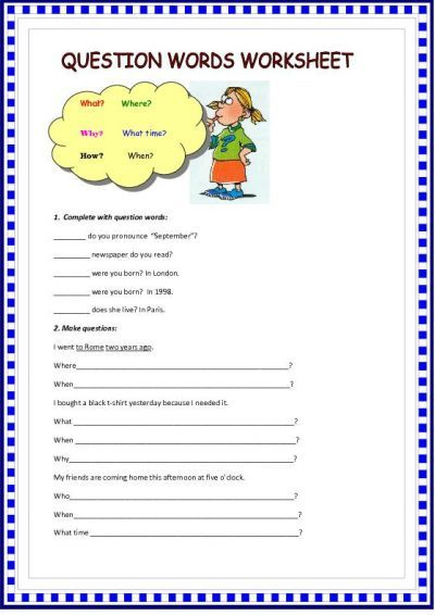 spanish worksheets for kindergarten | question words worksheet ...