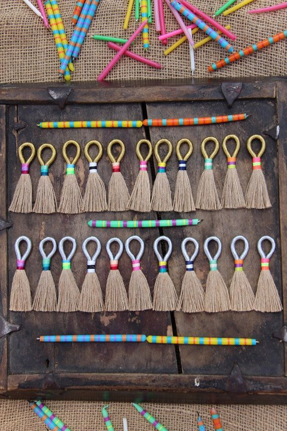 Natural Jute Tassels with Gold or Silver Metallic Loop, Tri-Color Binding, Handmade Jewelry Making Supplies, Fringe Necklace Pendant, 3 1/4