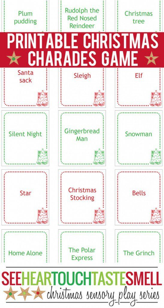 christmas charades game printable game cards - Christmas Games For Groups