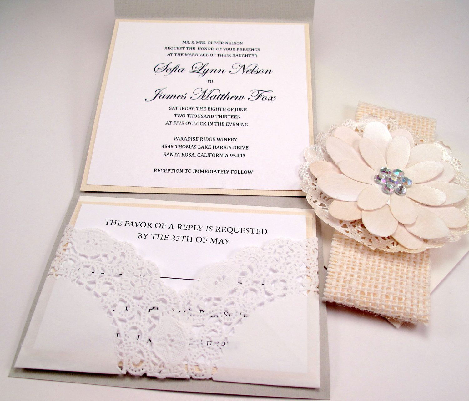 Wedding Invitation Vintage Shabby Chic Burlap Lace | Projects to Try ...