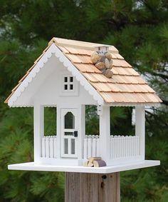 Photo of Home Bazaar Fly-Thru Bird Feeder, White at BestNest.com