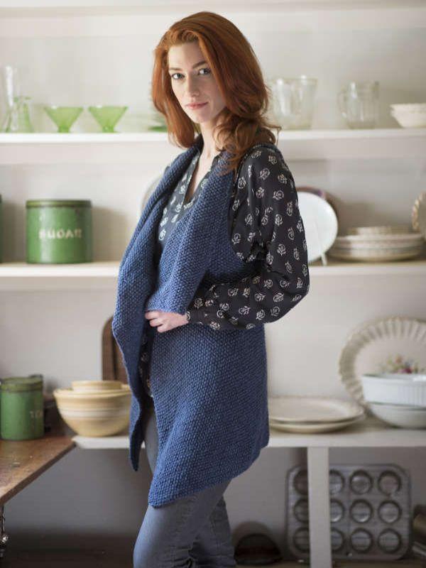 Channel is a free vest knitting pattern knit in Berroco Ginkgo ...