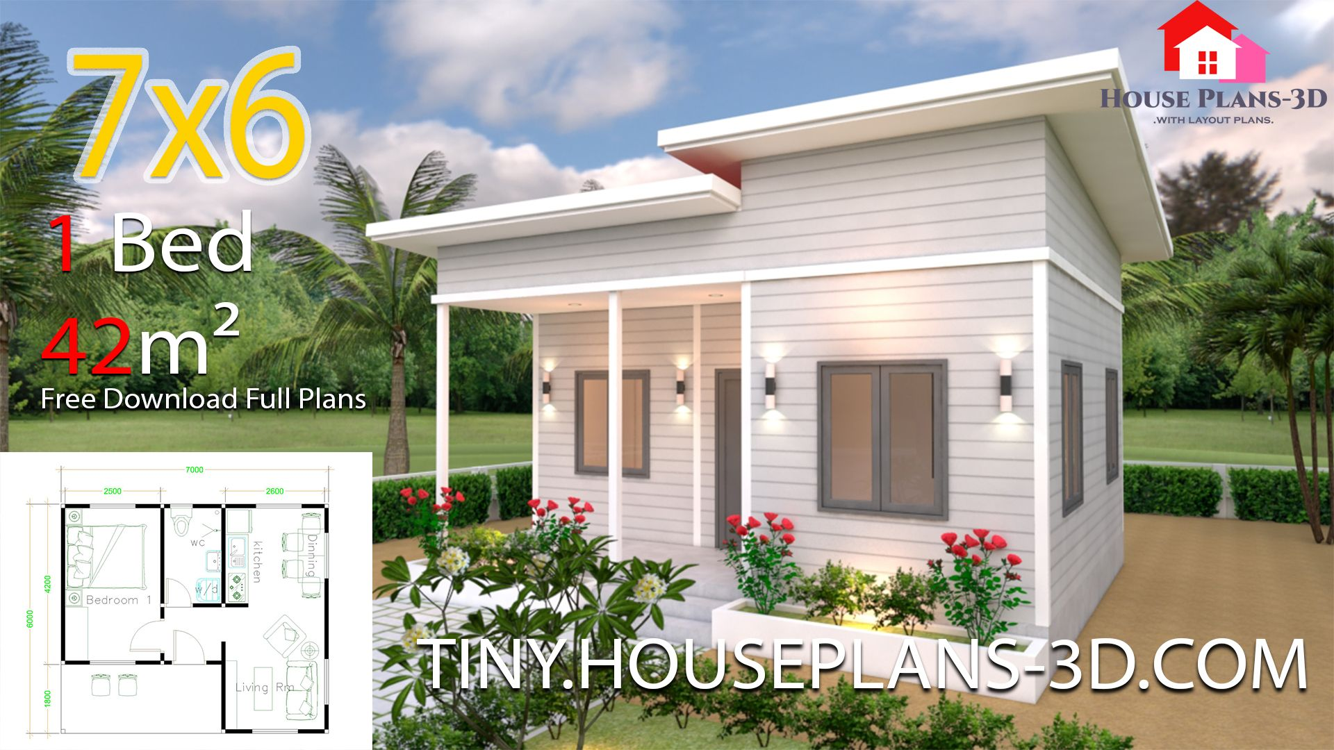 Tiny House Plans 7x6 With One Bedroom Shed Roofthe House Has Car Parking And Garden Living Small House Design Plans One Bedroom House Plans One Bedroom House
