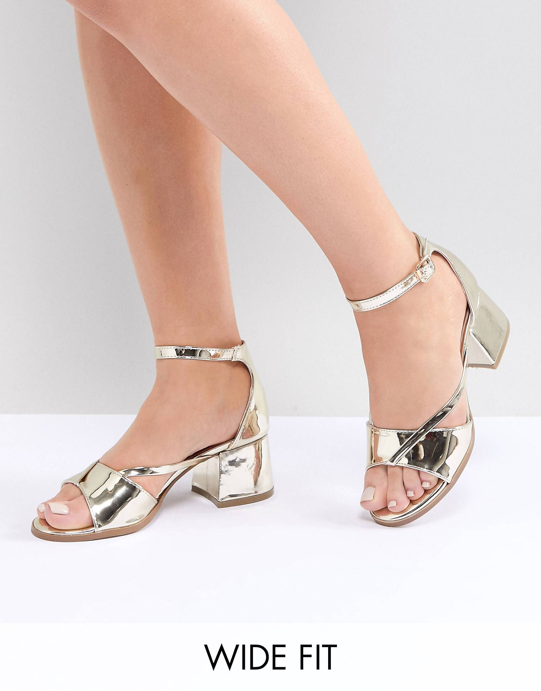 4ffb9a5ae98 Lost Ink Wide Fit Rose Gold Block Heeled Sandals in 2018