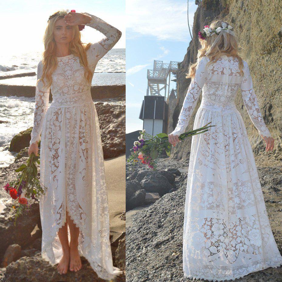 Non traditional wedding dress  Lace Victorian Edwardian Fishtail Hippie boho Festival HiLow Non
