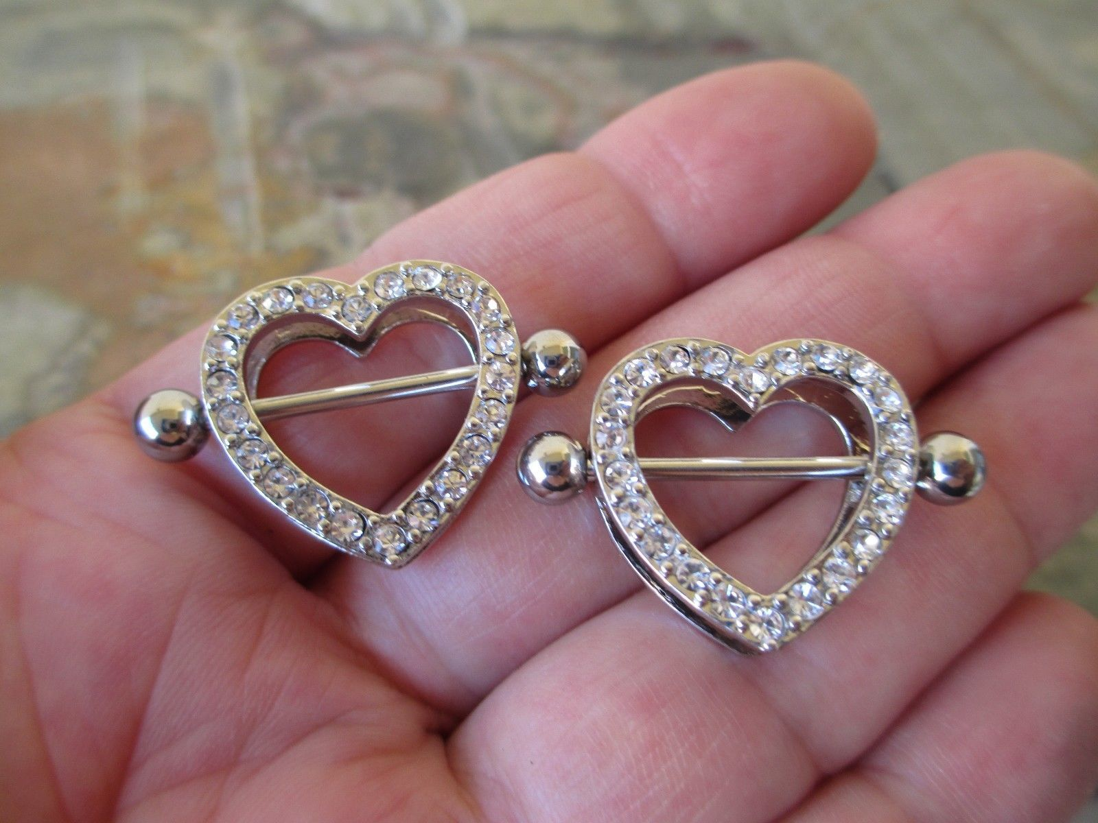 Clear gem nipple ring nipple shield nipple piercing nipple jewelry barbell