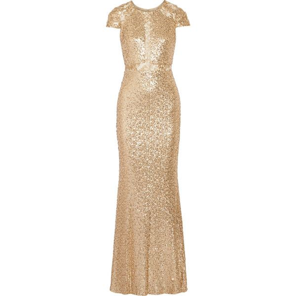 Badgley Mischka Sequined tulle gown ($315) ❤ liked on Polyvore featuring dresses, gowns, gold, sequin evening dresses, tulle gown, sequin evening gowns, see-through dresses and beige gown