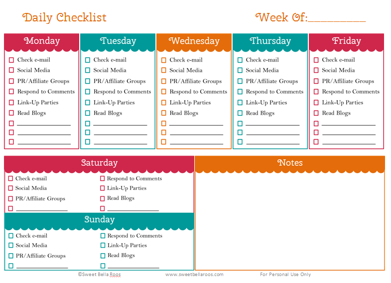 home office planner. Free Daily Task Blog Printable- Sweet Bella Roos Home Office Planner L