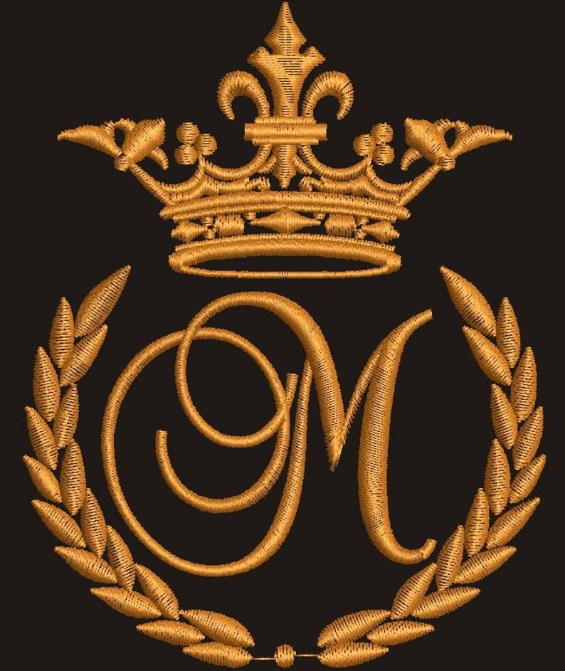 Crown Laurel Wreath And The Monogram Letter M Etsy In 2021 Monogram Letters Machine Embroidery Designs Laurel Wreath