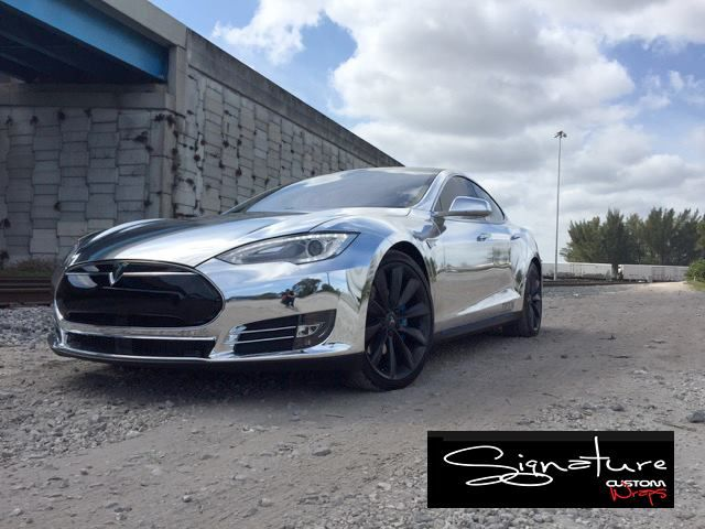 Here Is Your Sweet Treat For The Day Chrome Tesla From Signature Custom Wraps Www Signaturecustomwraps Com Material Avery Sw90 Tesla Custom Wraps Car Wrap