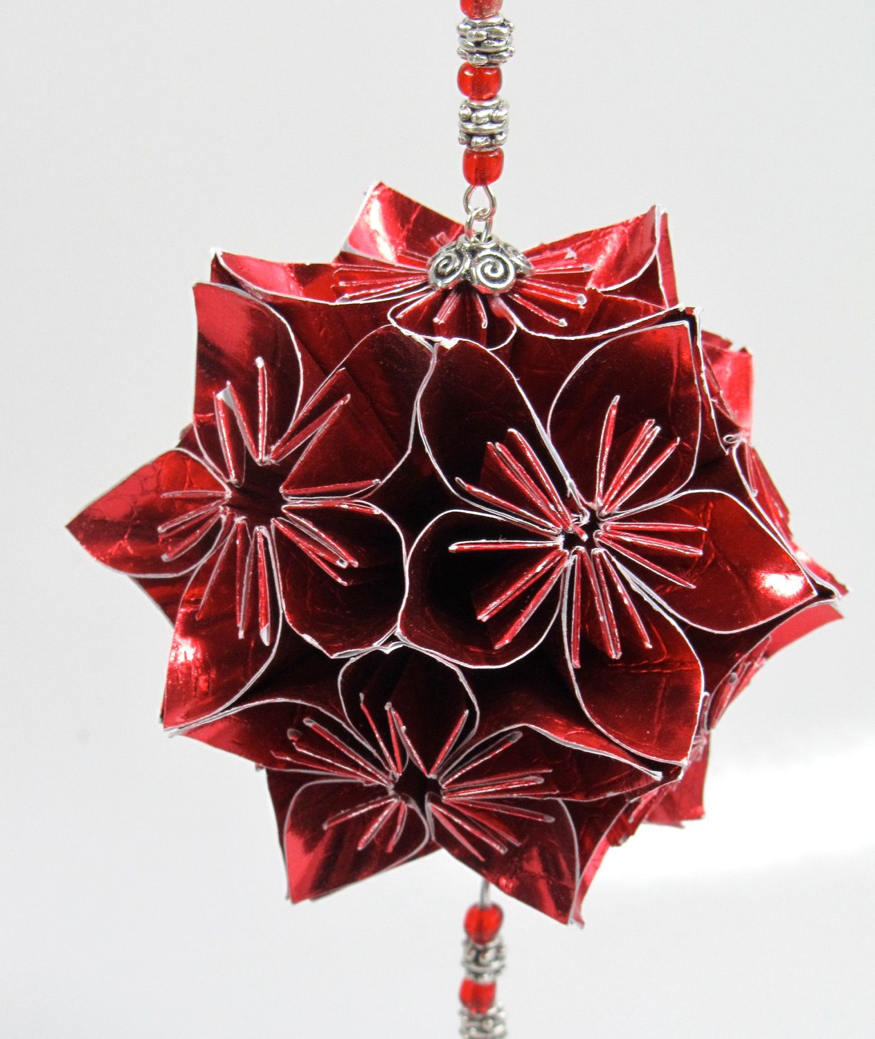 Kusudama Folded Paper Ornament, Beaded. I've Made These