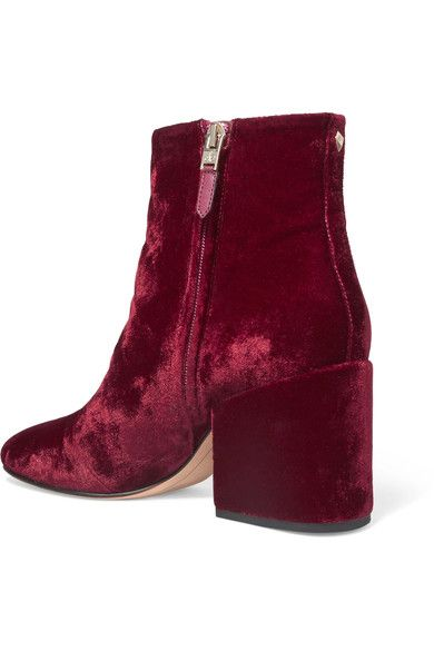 0122a5e2eb1d Sam Edelman - Taye Velvet Ankle Boots - Burgundy - US10.5