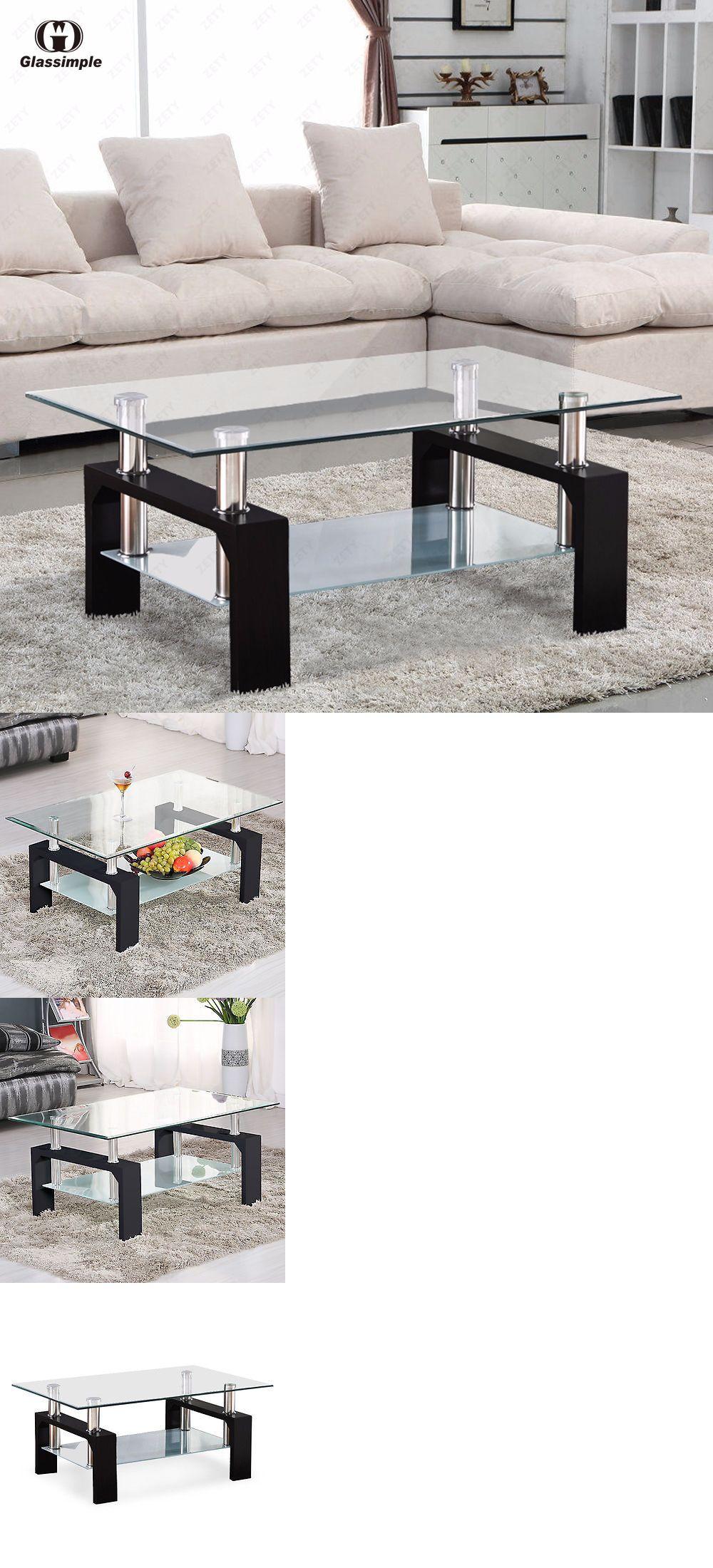 furniture: Rectangular Glass Coffee Table Shelf Chrome Black Wood ...