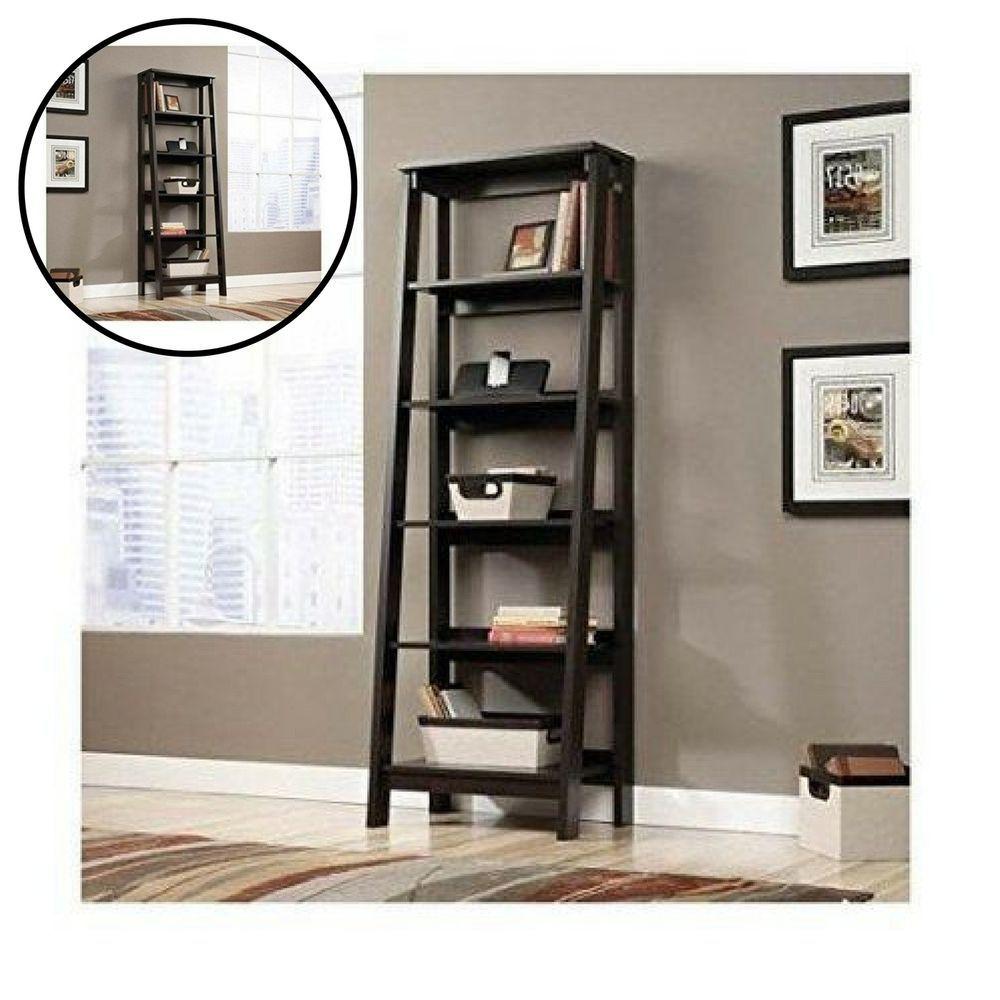 Contemporary Bookshelves 5 shelf ladder bookcase jamocha wood contemporary bookshelf