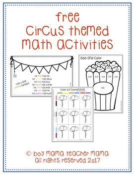 3 Free Circus Themed Math Activities Including Adding Ordinal